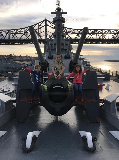Scouts explore and sleep overnight on the USS Massachusetts battleship 2016
